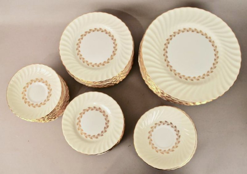 80 Pc Minton Gold Cheviot Bone China - 4
