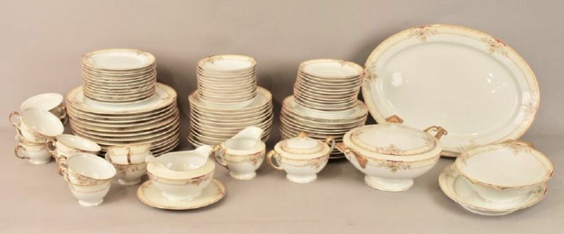 90 Piece Set of Hand Painted Meito China