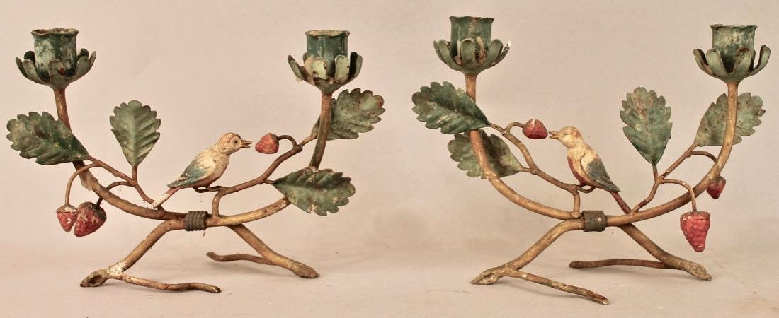 Pair of Bird Sculpture Candle Holders