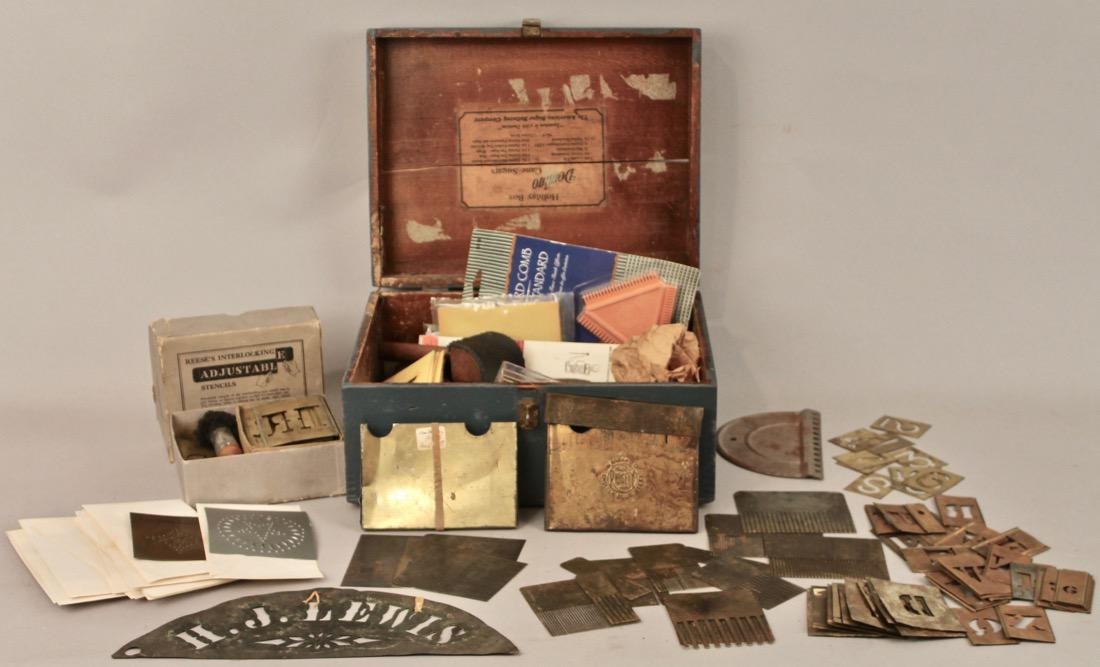 Box of Vintage Painters Tools, Grain Painting