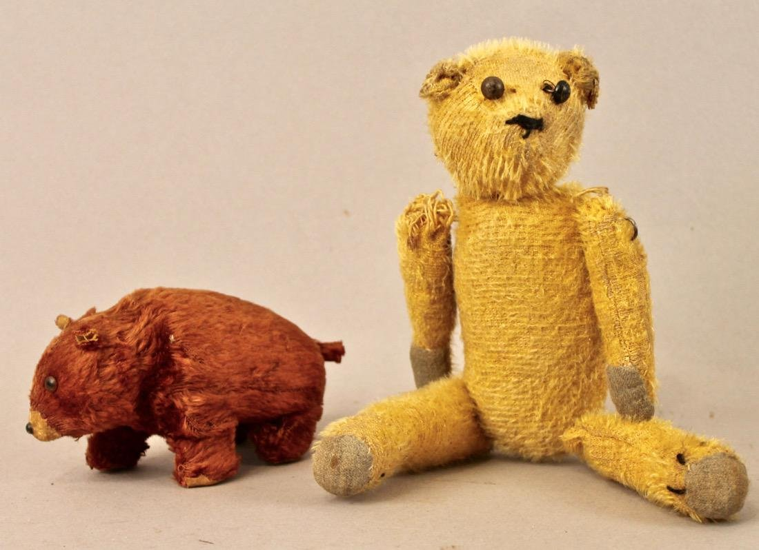 Vintage Teddy Bear and Windup Bear Toy