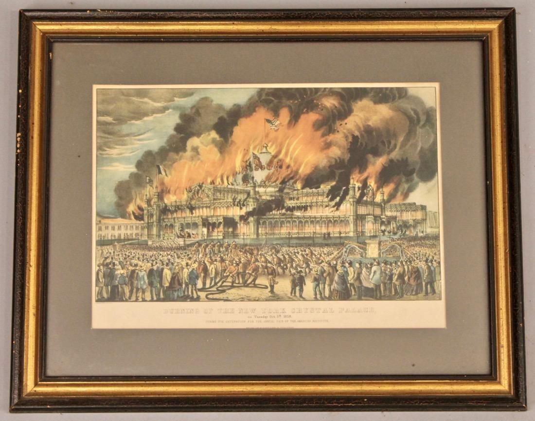 Currier & Ives Litho Burning ofthe Crystal Palace