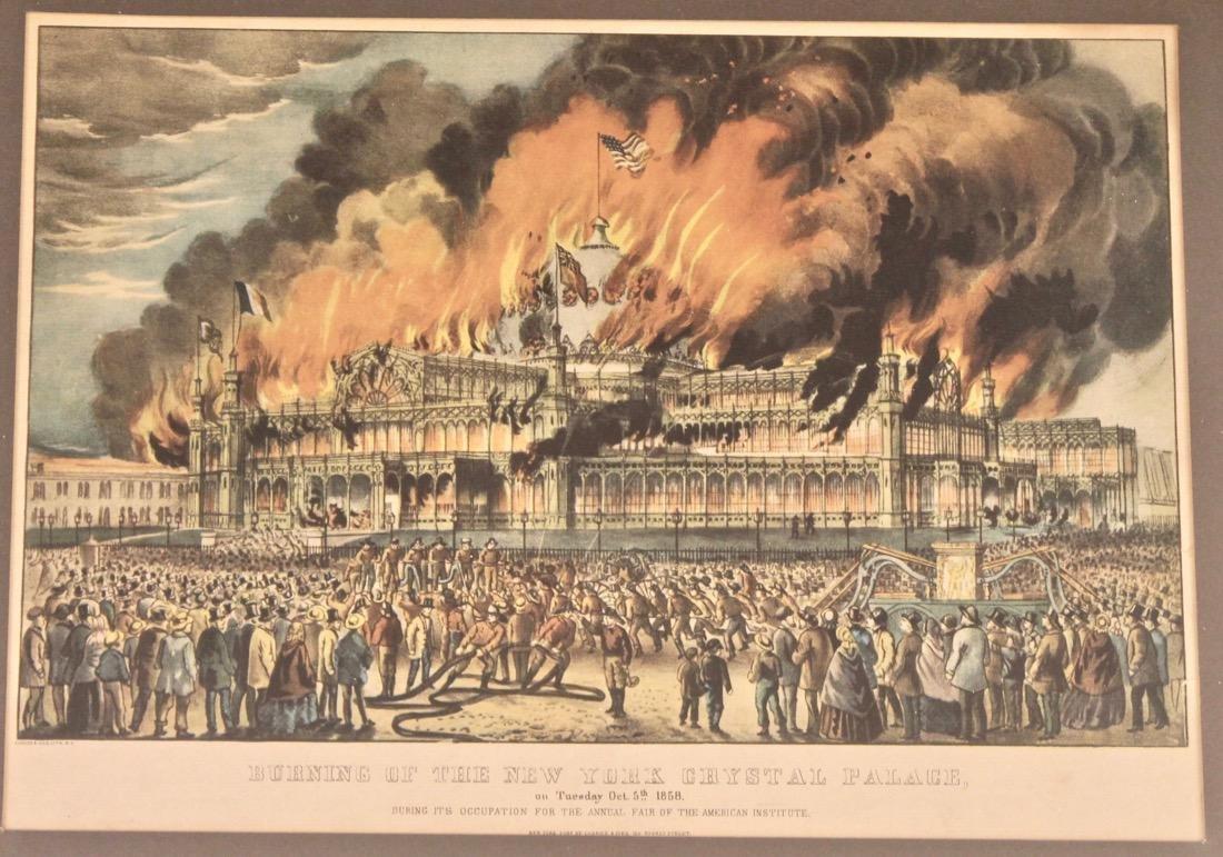 Currier & Ives Litho Burning ofthe Crystal Palace - 2