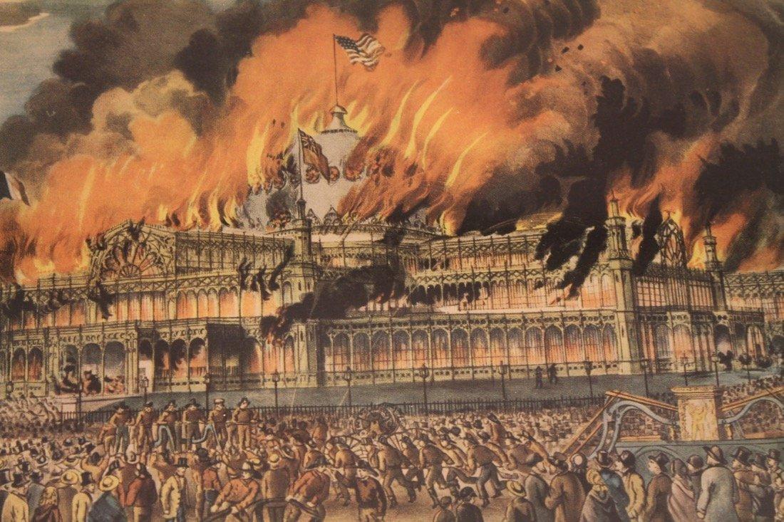 Currier & Ives Litho Burning ofthe Crystal Palace - 5