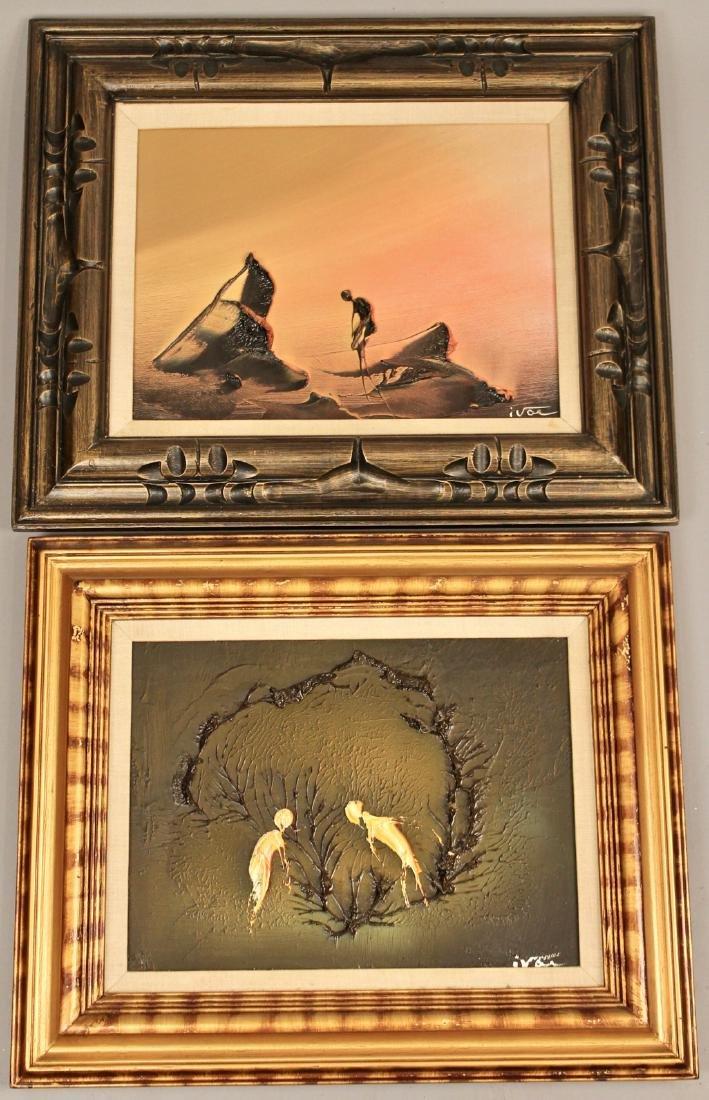 2 Mid Century Acrylic on Canvas signed Ivar