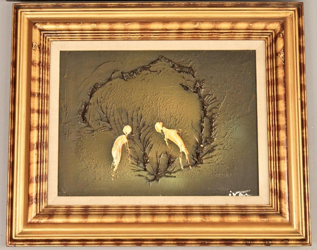 2 Mid Century Acrylic on Canvas signed Ivar - 2