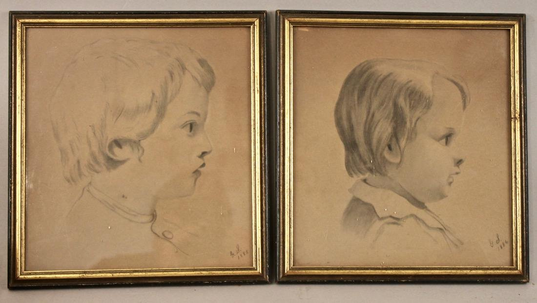 Pair of Pencil Drawing Profile Pictures