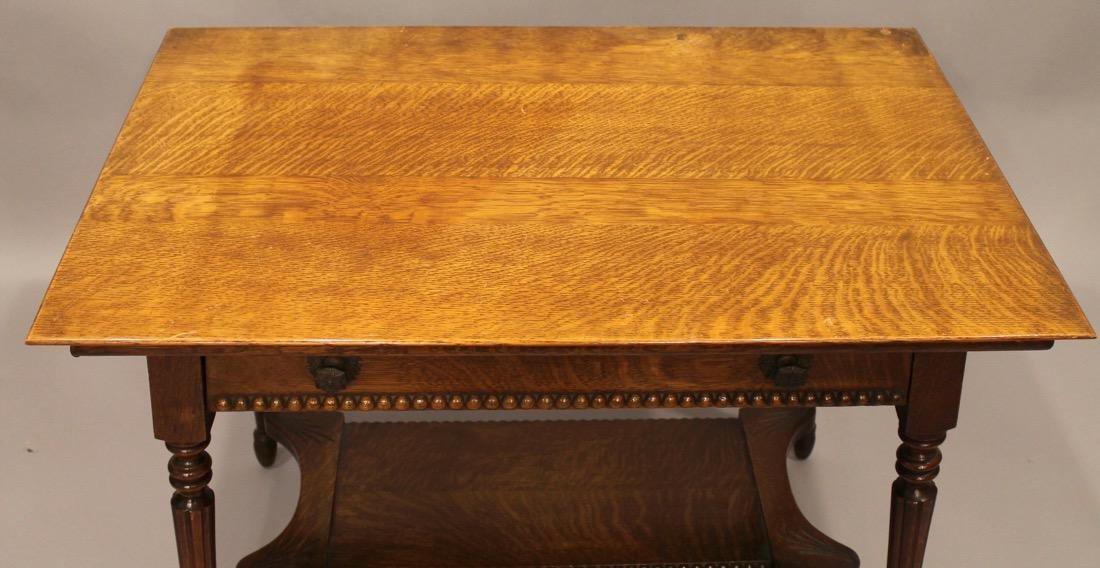 Oak 1 Drawer Library / Desk Table - 4
