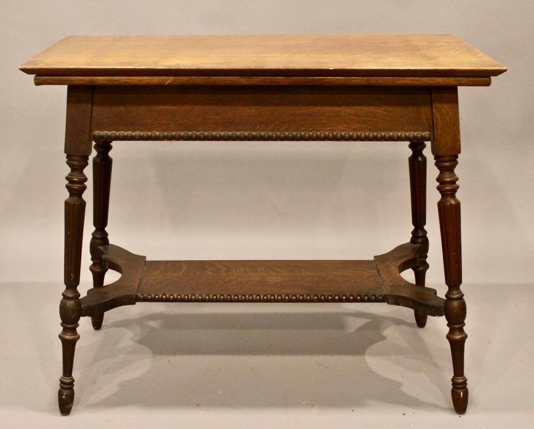 Oak 1 Drawer Library / Desk Table - 5