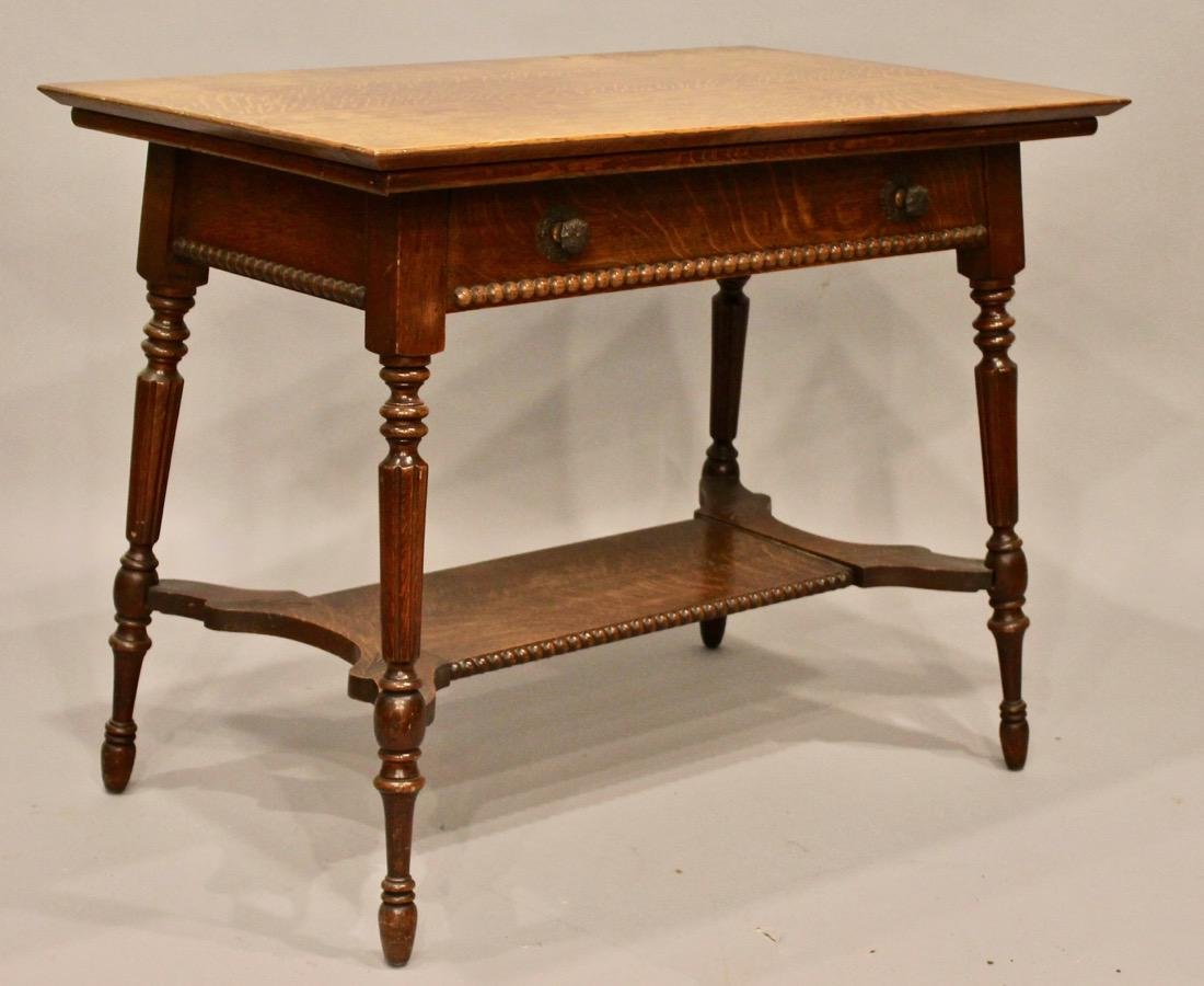 Oak 1 Drawer Library / Desk Table - 6