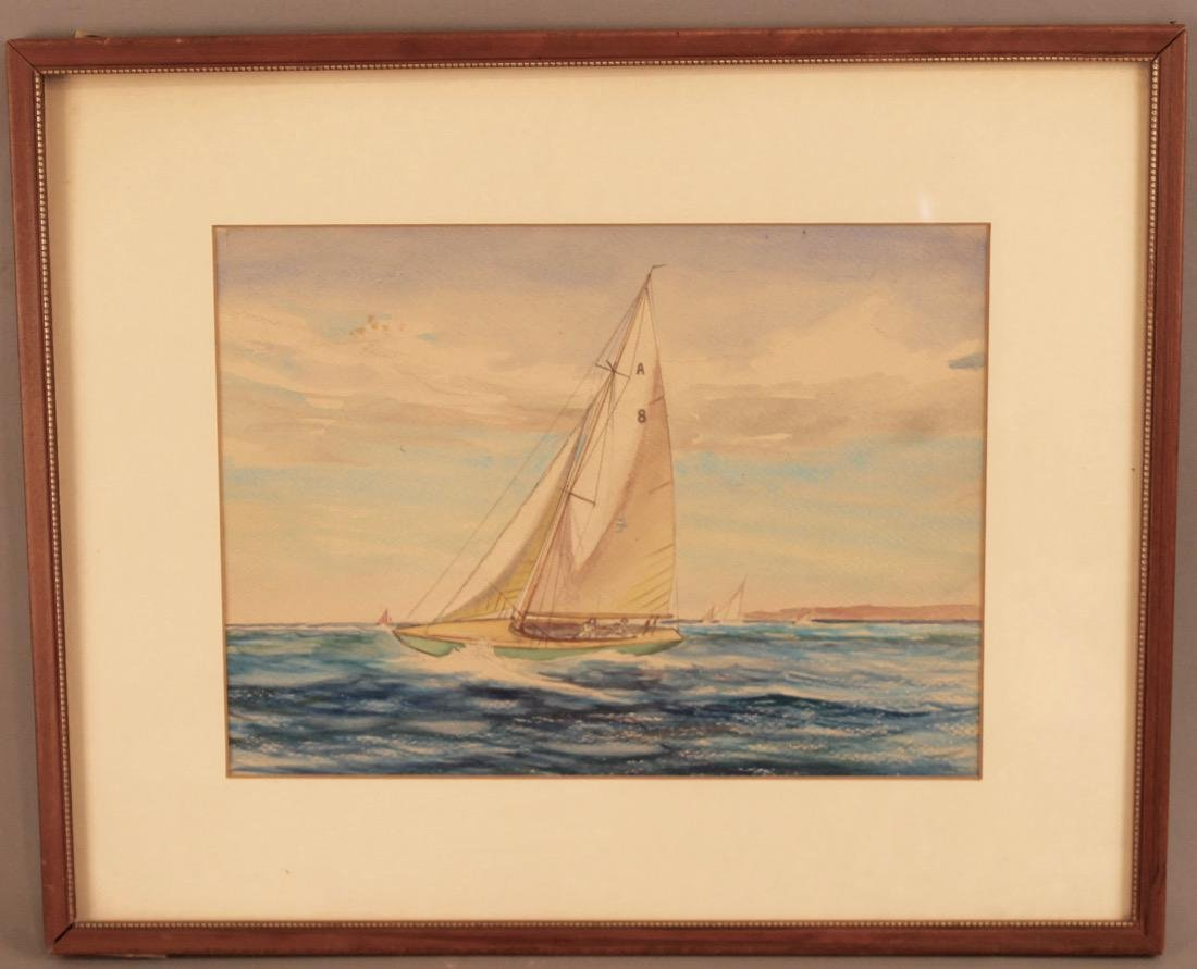 Watercolor on Paper of Sailboat