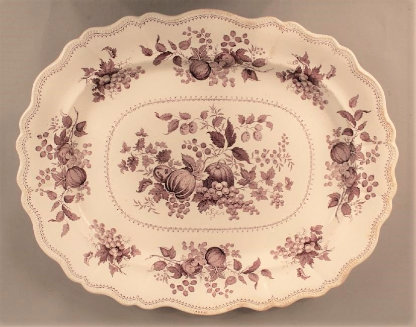 Large Transferware Platter with Fall Foliage