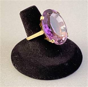 14k Yellow Gold and Amethyst Cocktail Ring