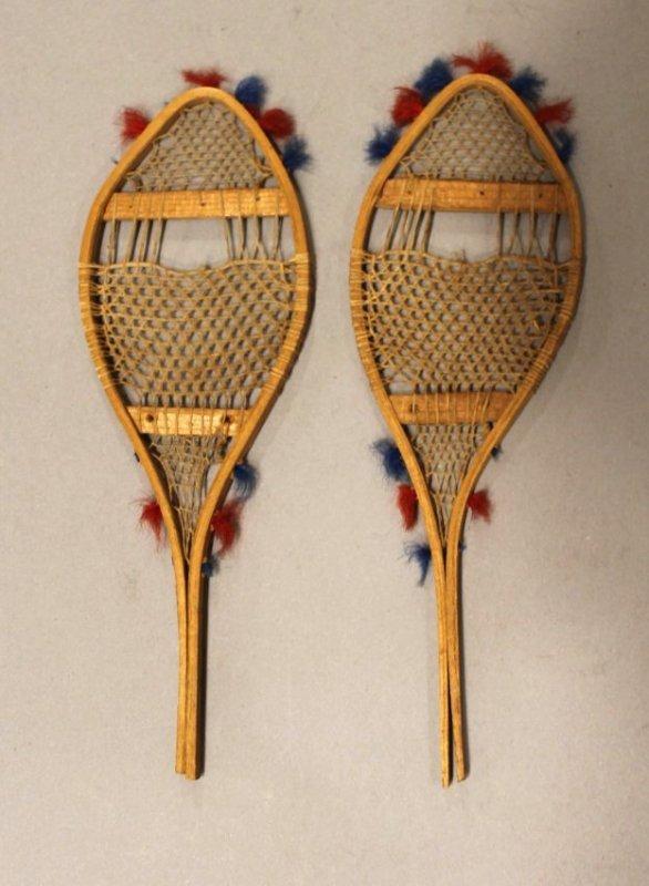 Pr Vintage Miniature Native American Made Snowshoe