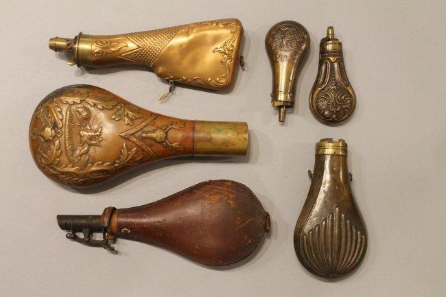6 Vintage Gunpowder Flasks