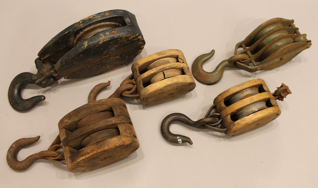 5 Vintage Block and Tackle Pulleys