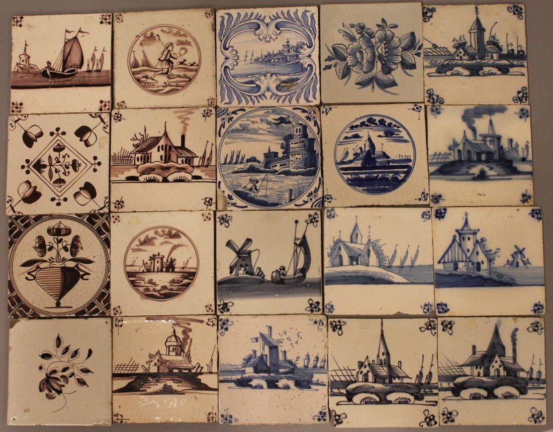 20 Antique Delft Tiles Blue & White, Brown & White