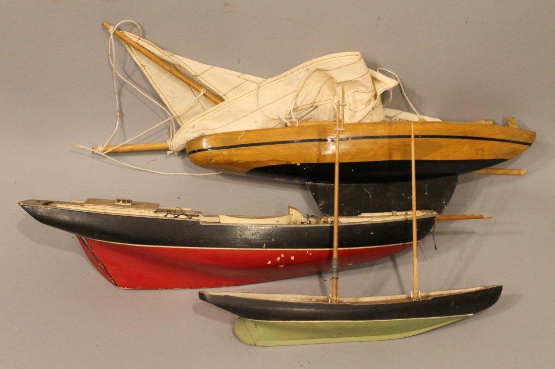 3 Vintage Sailboat Models in Original Paint