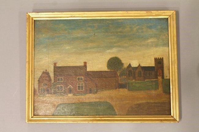 19th Century Folk Art Oil on Canvas Brick House