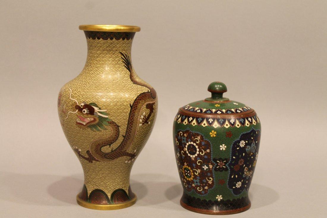 2 Pcs Chinese Cloisonee Vase w Dragon & Humidor