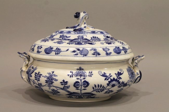 Blue and White Covered Tureen Onion Pattern