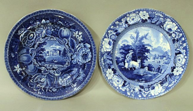 2 Blue and White Historical Plates