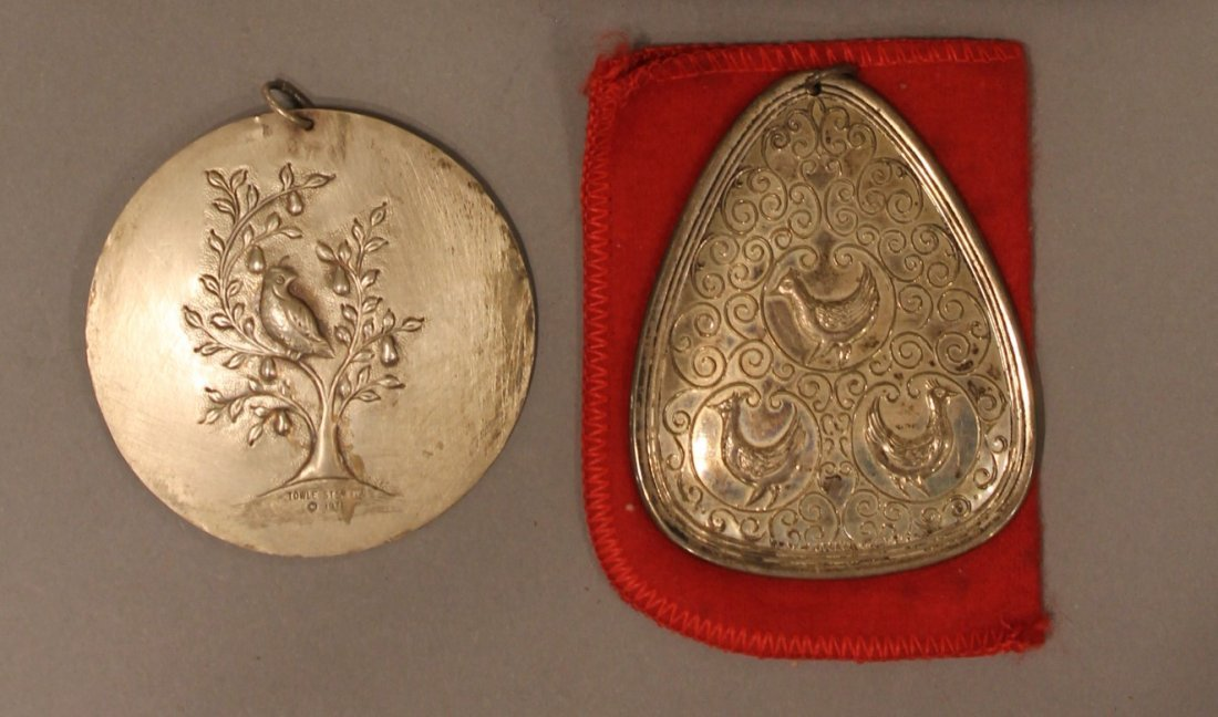 2 Towle Sterling Silver Christmas Ornaments Medallions