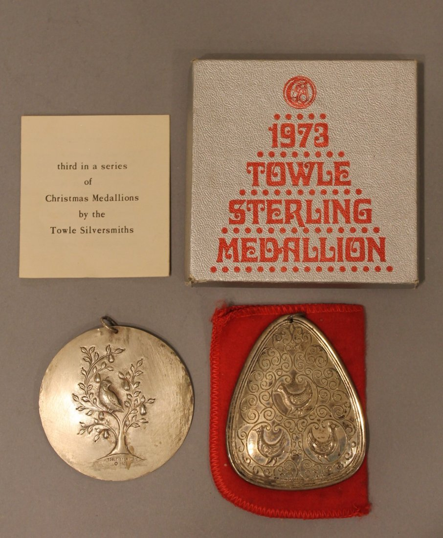 2 Towle Sterling Silver Christmas Ornaments Medallions - 3
