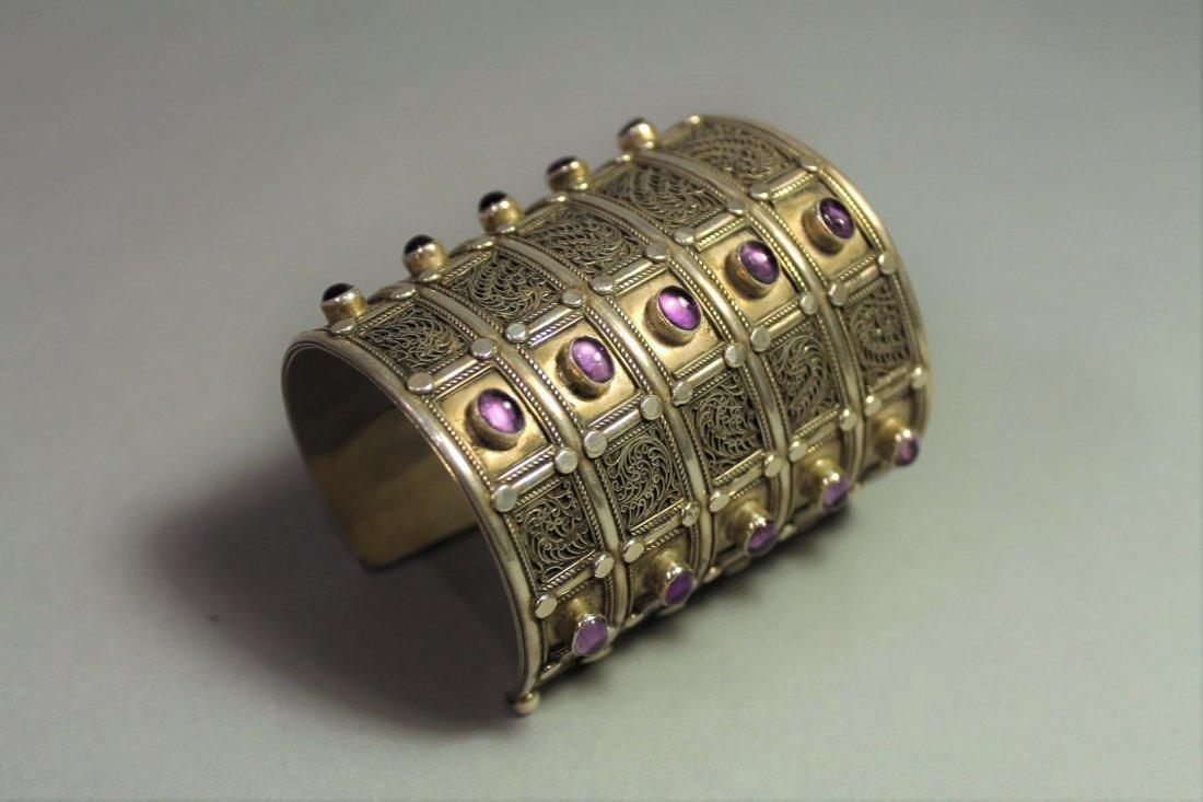 Sterling Silver and Amethyst Cuff Bracelet David Saity