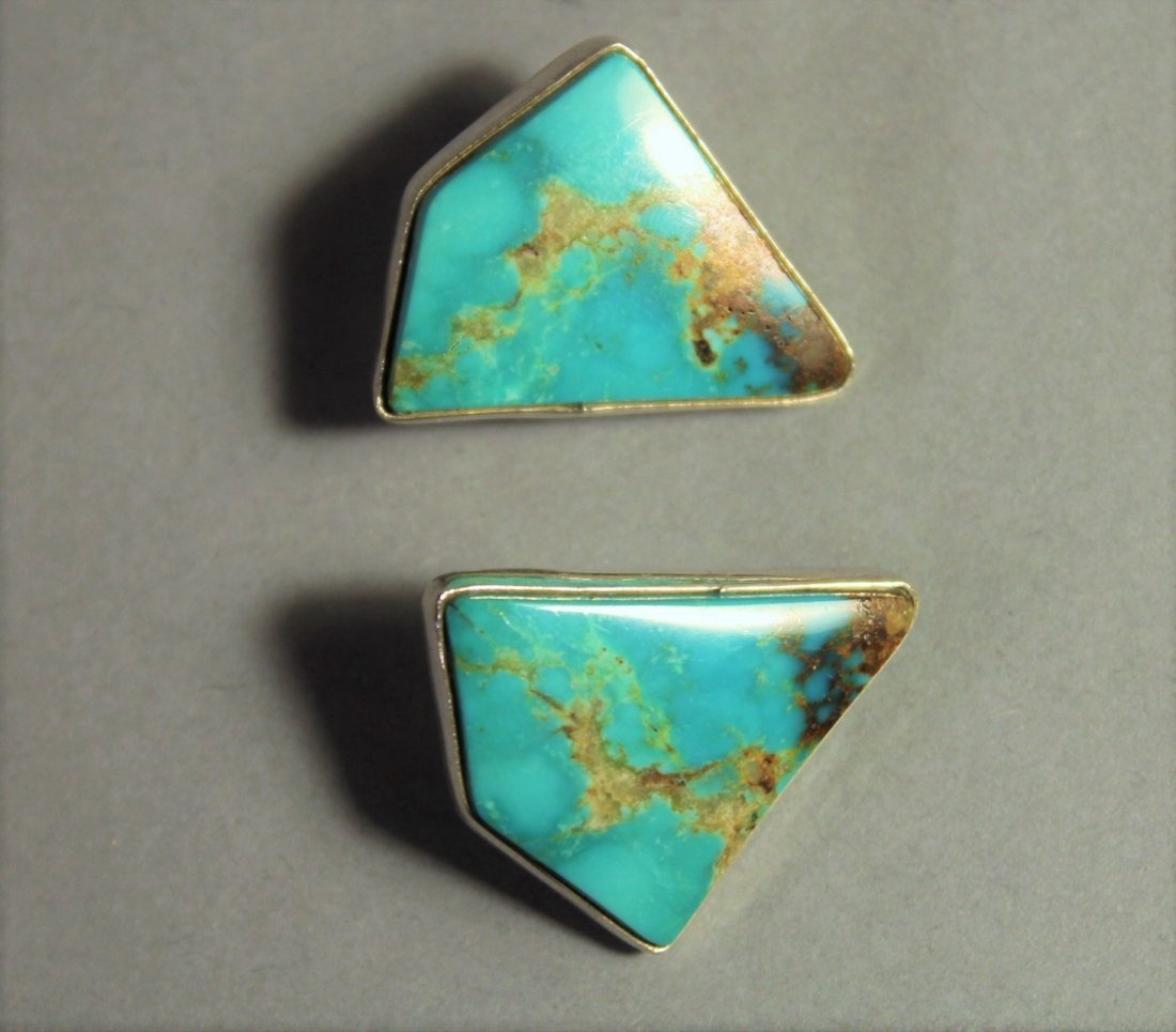 Two Pairs Sterling Silver Earings 1 Turquois 1 Onyx - 4
