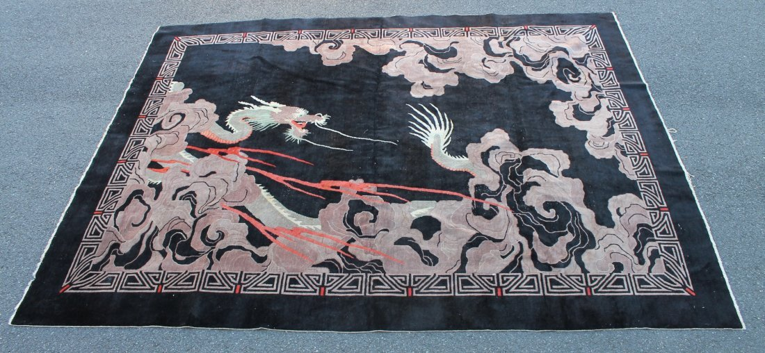Vintage Chinese Rug with Dragon Motif