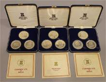 3 Sterling Silver Proof Sets Churchill Manx Washinton