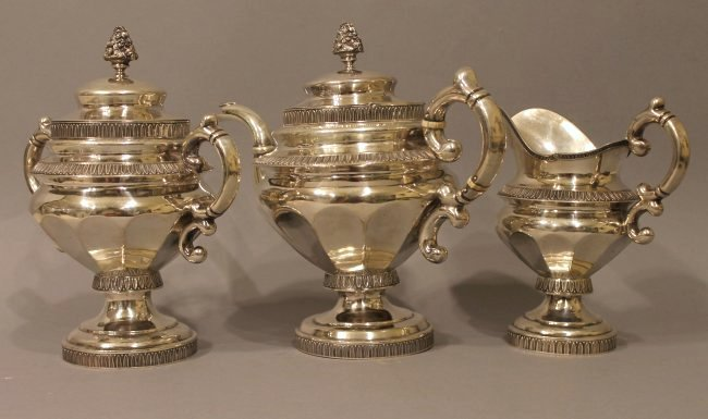 Coin Silver Tea Service G Byce, NYC 77.39 ozt
