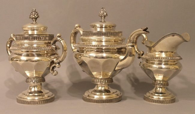 Coin Silver Tea Service G Byce, NYC 77.39 ozt - 2
