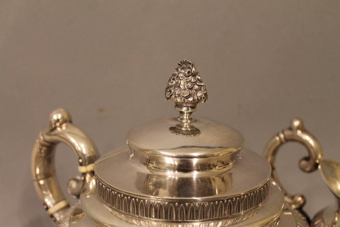 Coin Silver Tea Service G Byce, NYC 77.39 ozt - 3