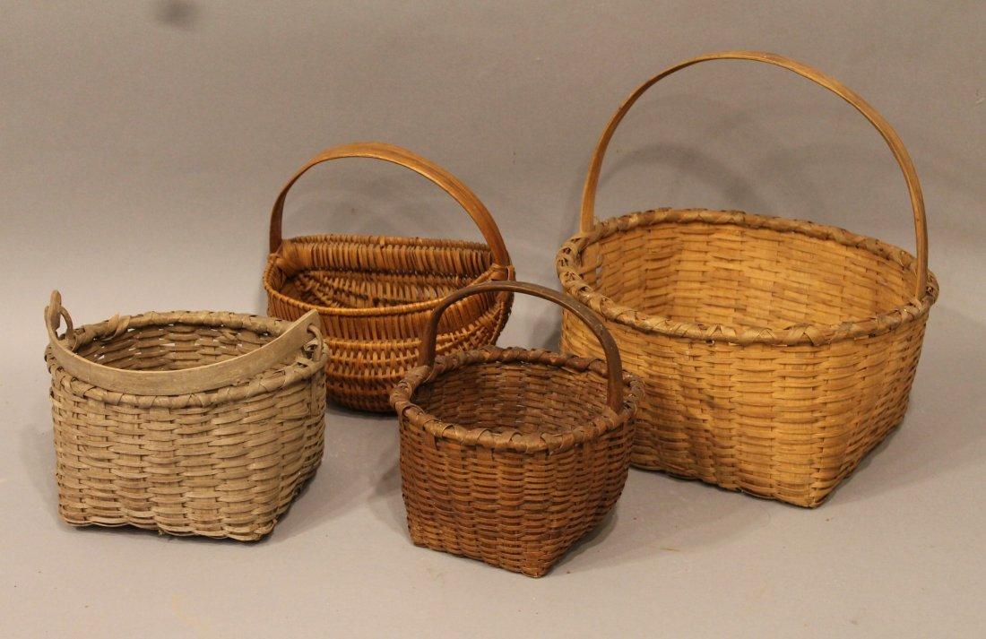 4 Antique Small Splint Baskets inc 1 Swing Handle