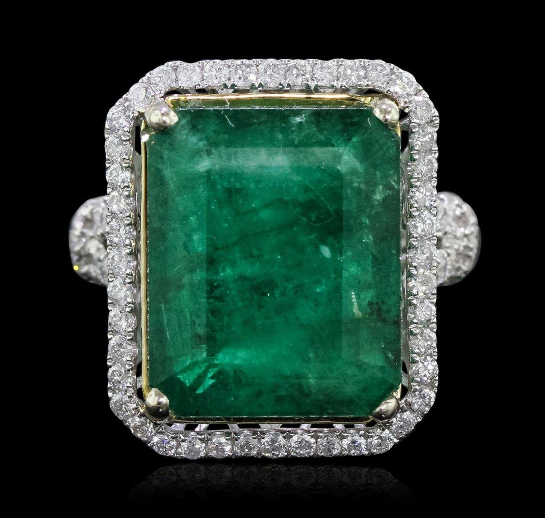 14KT Two-Tone Gold 14.59ct Emerald and Diamond Ring