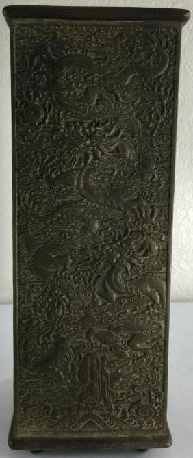 Late Qing Dynasty chinese four sided zitan wood carved