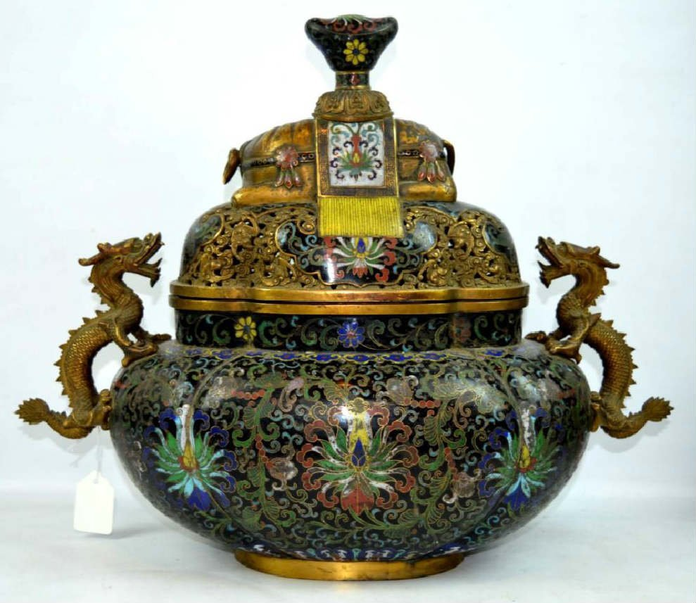 Large 18/19 C Chinese Gilt Bronze cloisonné Censer