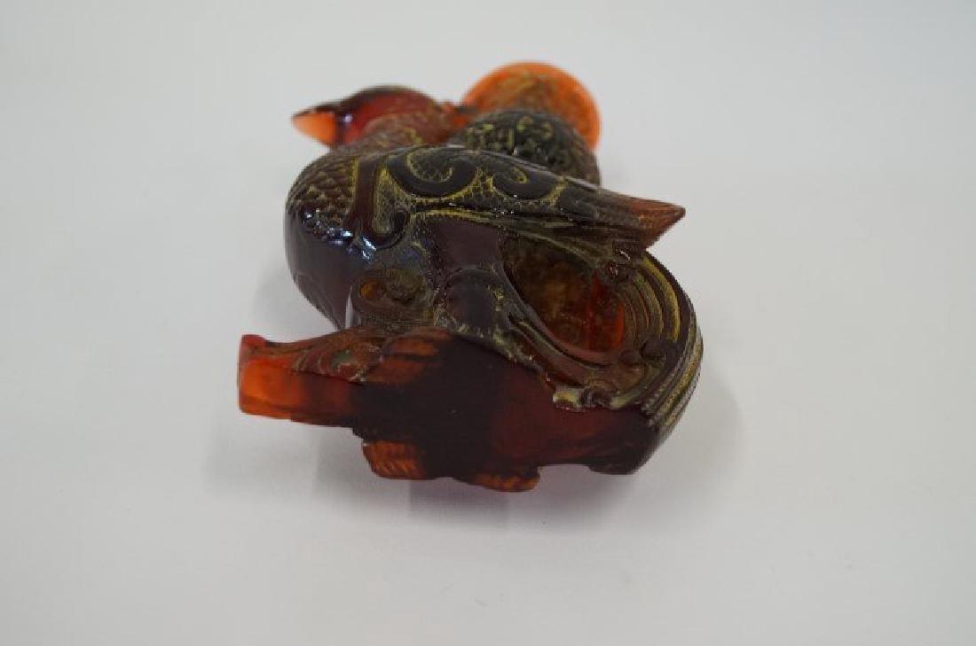 Chinese amber brushpot phioenix bird - 4
