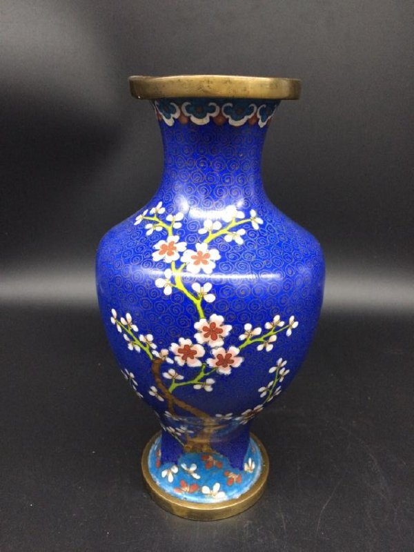 Antique  Chinese Wintersweet Cloisonne Vase