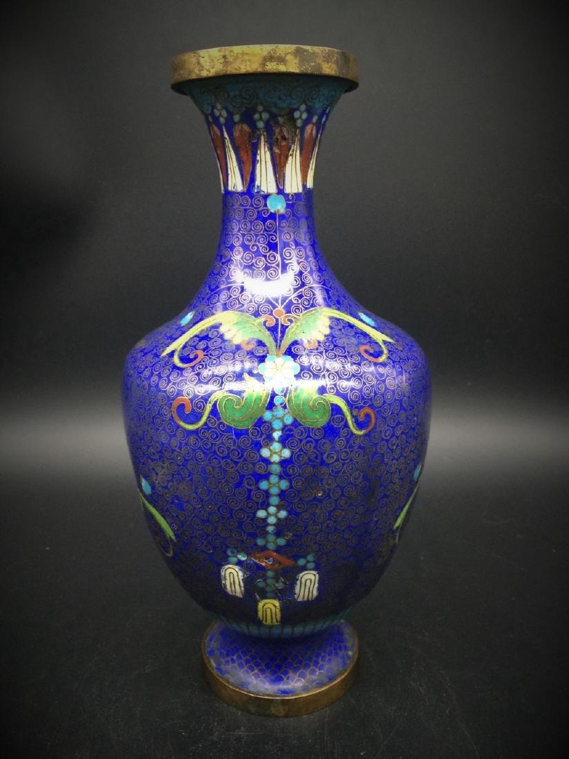 19th Antique  Chinese deep blue Cloisonne Vase