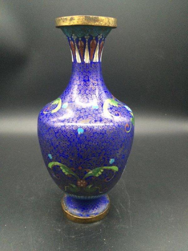 19th Antique  Chinese deep blue Cloisonne Vase - 2
