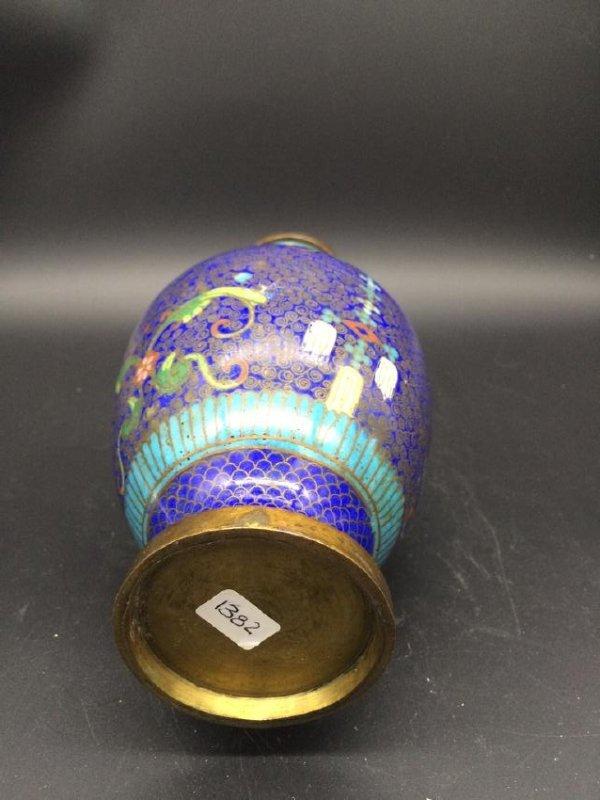19th Antique  Chinese deep blue Cloisonne Vase - 3