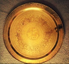 Super big Carved Chinese Golden Bronze Plate