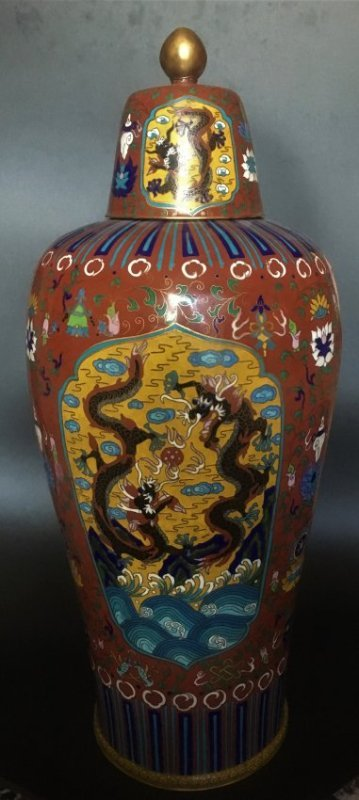 19th Big Chinese Cloisonne Vase with dragon