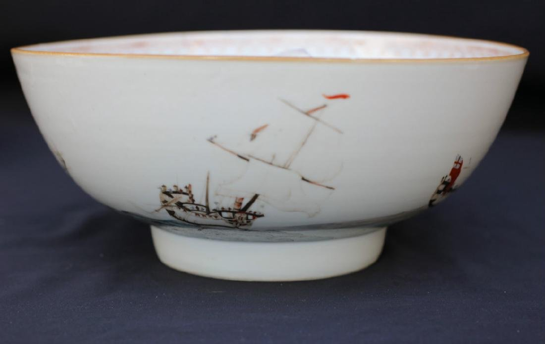 "18C Chinese Porcelain Punch Bowl ""Sailor & Ship"""