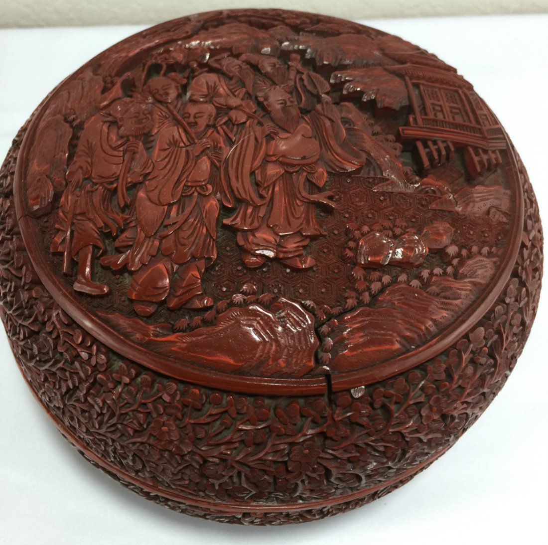 Chinese Carved Cinnabar Lacquered Box
