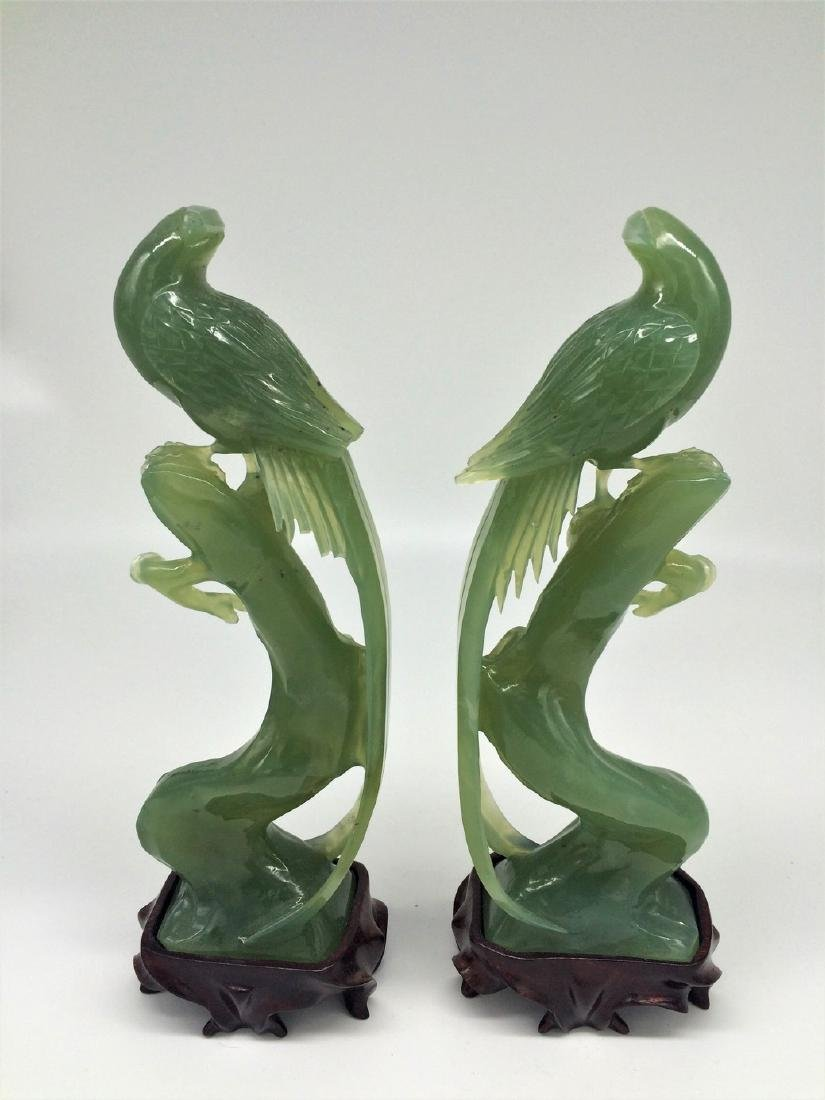 Chinese antique Pair Of Jade Fenix Hand Carved Birds