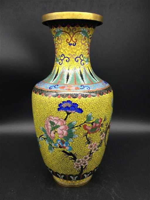 19 C Antique Large Yellow Chinese Cloisonne Vase